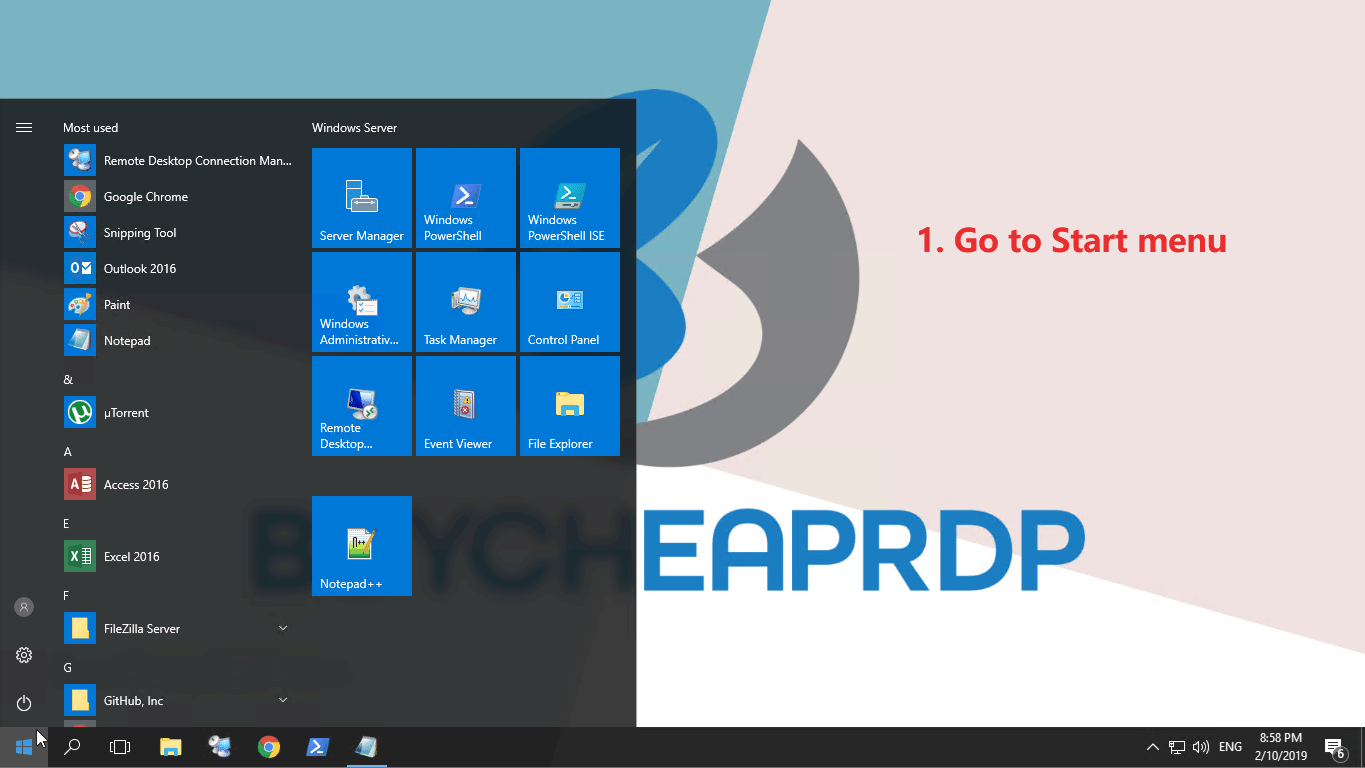 Step 1 to connect to rdp