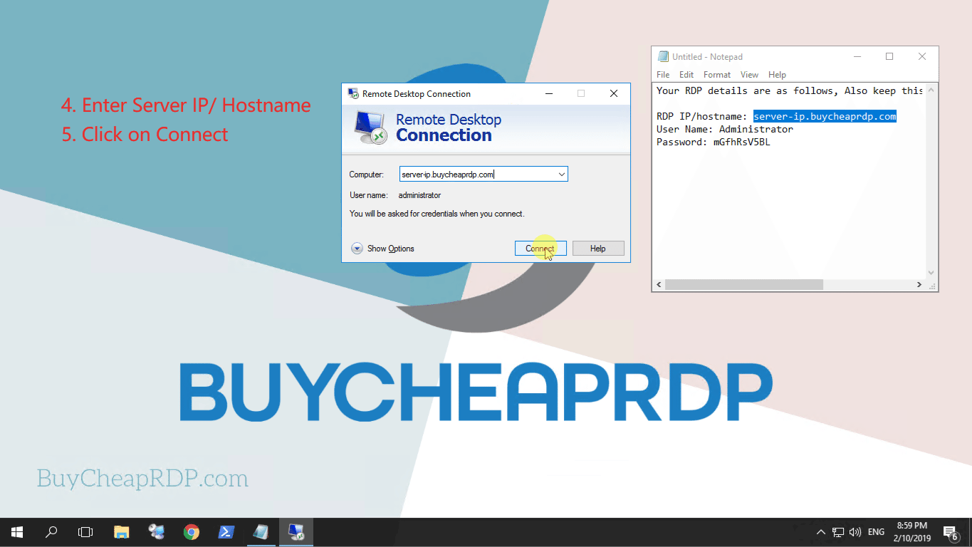 Step 3 to connect to rdp