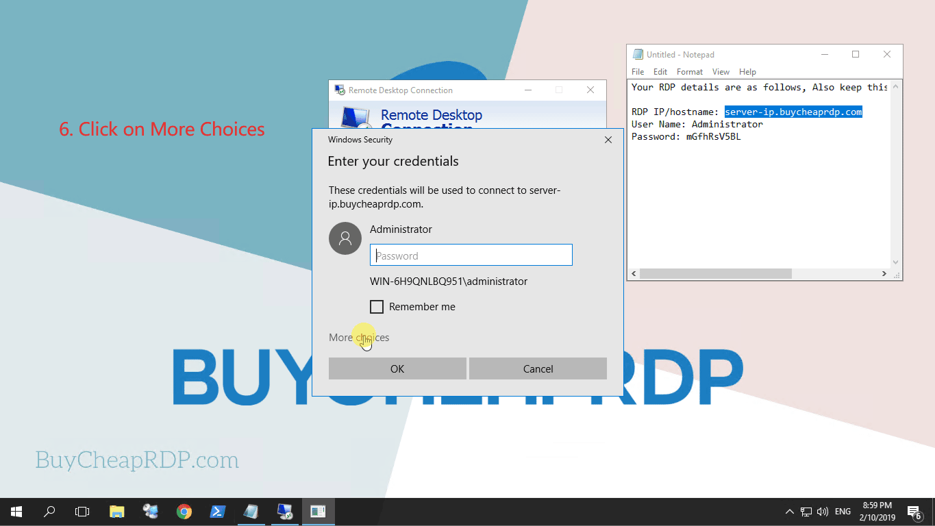 Step 4 to connect to rdp