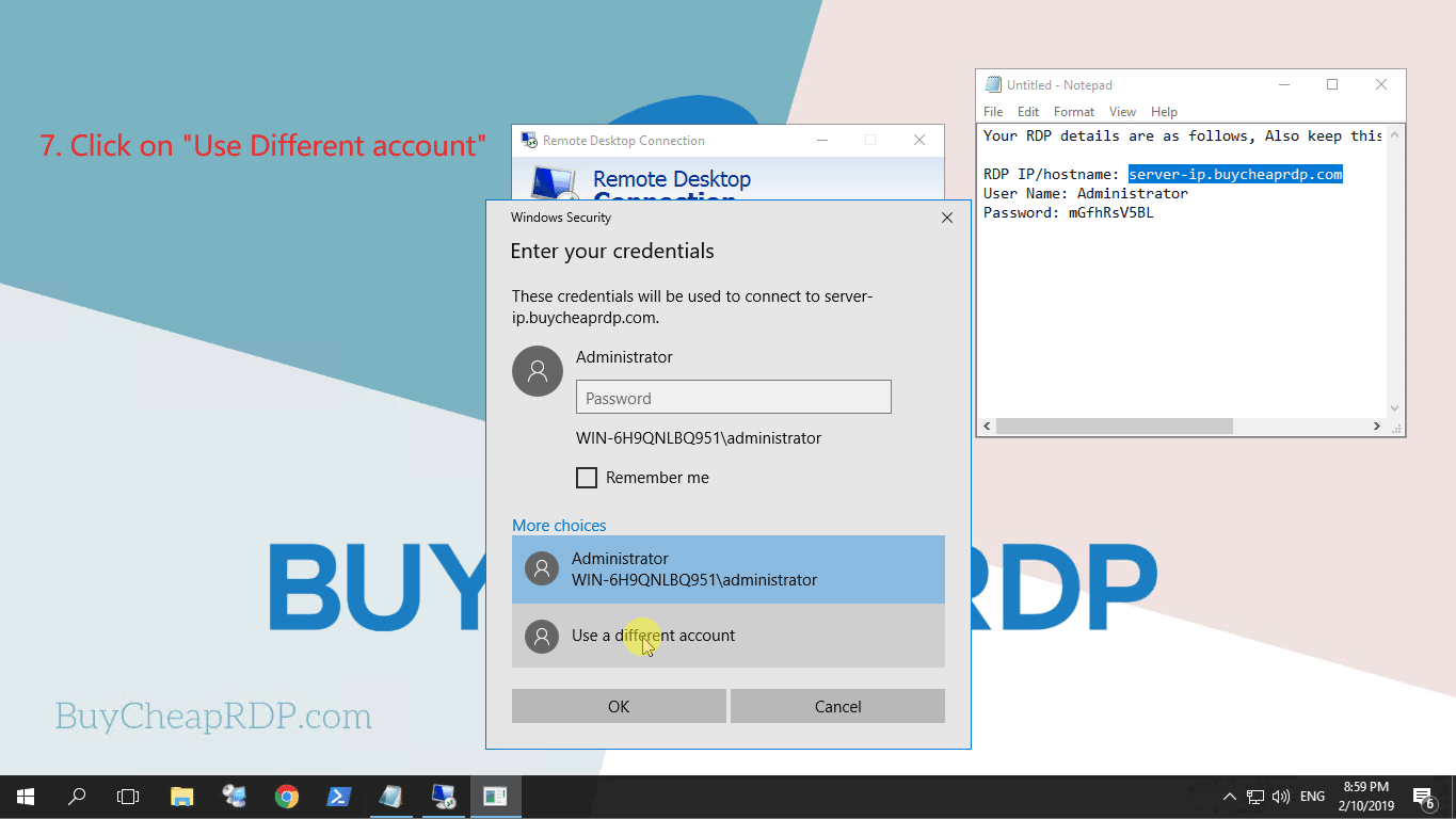 Step 5 to connect to rdp
