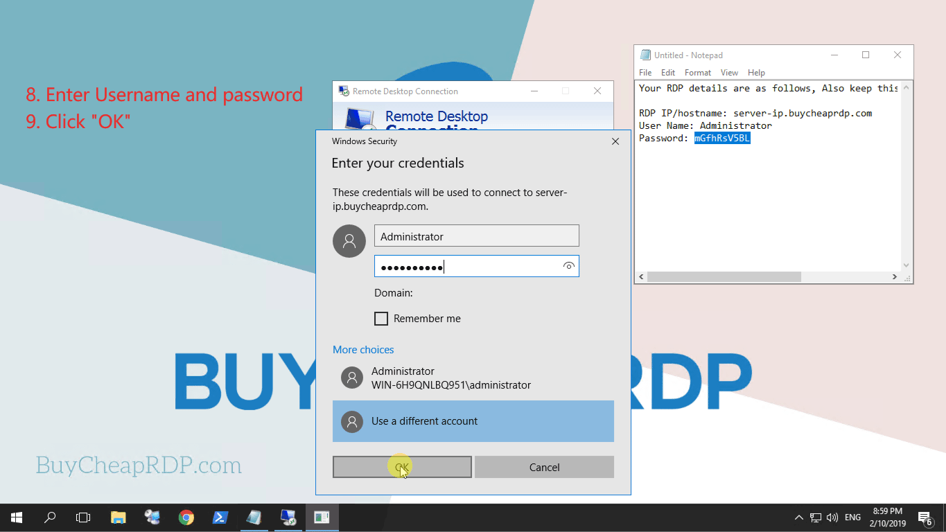 Step 6 to connect to rdp